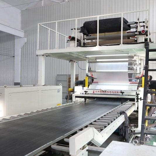 SPC flooring production process machine line